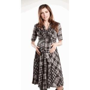 Maternal America Houndstooth Tie Front Dress L